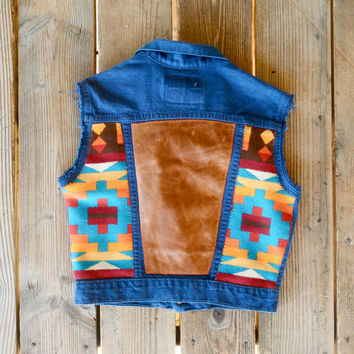 Vintage Blue Levi's Vest with Colorful Navajo Pendleton and Distressed Tan Leather Inserts on Back.