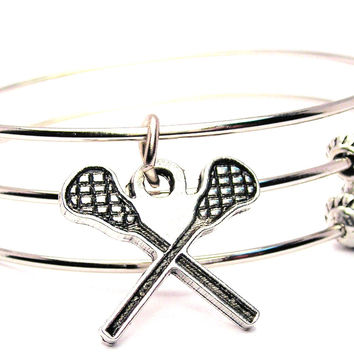 Crossed Lacrosse Sticks Triple Style Expandable Bangle Bracelet