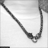 Superior Quality 9mm Borobudur Design Chain Necklace With Snarling Wolf Heads In Your Choice of 5 Lengths