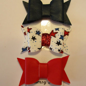 Set of 3 patriotic 2 inch felt bow, DIY headband supply, felt bow, handmade, made to order