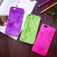 Hot Candy Color Fuzzy Hard PC Phone Back Cover For iPhone 6 6S 7 Plus For iPhone 7 Phone Case Protector YC1300