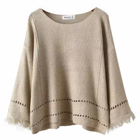Batwing Sleeves Cutout Detail Tassel Hem Knitted Sweater