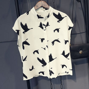 White  Birds Printed Collared Sleeveless Chiffon Top