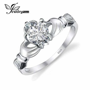 JewelryPalace April Birthstone Sona DO Irish Claddagh Ring 925 Sterling Silver Love & Heart Christmas Charms Accessories