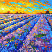 Lavender field sunset - oil paintings by Dmitry Spiros, 32 x 24in, (80 x 60cm)