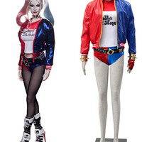 Free Shipping Suicide Squad Harley Quinn Coat Suits Film Cosplay Costume
