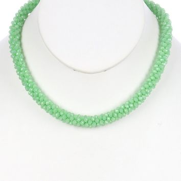 Green Iridescent Micro Bead Crocheted Rope Necklace