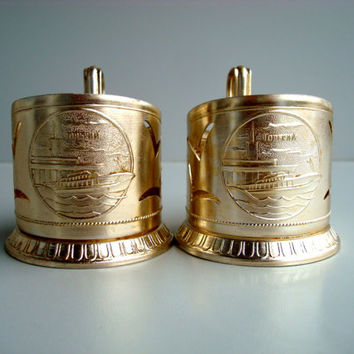 Vintage Tea Glass Holder Set of 2, USSR podstakannik, soviet Gold color metal coaster 1970s