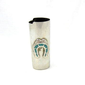 Vintage Silver Tone Turquoise Horseshoe Horse Animal Native American Bic Lighter Case Holder Cover Sleeve Smoking Collectible Metal Item