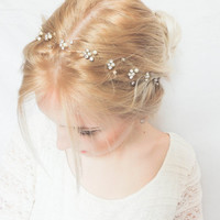 Bridal hair vine, Pearl rhinestone headband, Bridal Halo, Bride Head Wrap, Pearl Hair Vine, Bridal Hair Accessories
