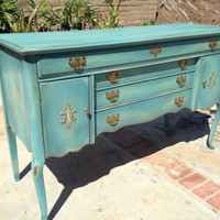 For Megan--CLEARANCE: Stunning antique mahogany buffet/sideboard hand painted boho chic style