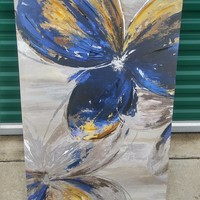 #2384 - Contemporary Floral Art Work - Blue
