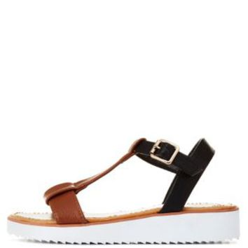 Bamboo Color Block T-Strap Mini-Flatform Sandals