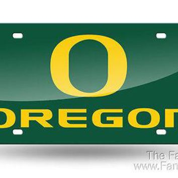 Oregon Ducks GREEN Deluxe Laser Cut Mirrored License Plate Tag University of