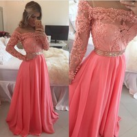 Long sleeve lace prom dress, off shoulder prom dress, cheap prom dress, prom dress 2017, lace prom dress, red prom dress