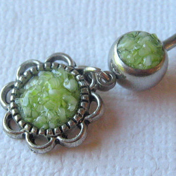 Flower Belly Ring, Lime Green Belly Ring, Belly Button Jewelry, Rock Candy Jewelry