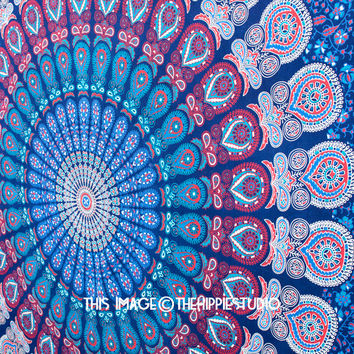 Large Blue Mandala Tapestry, Hippie Tapestries, Tapestry Wall Hanging, Bohemian Tapestries, Tapestry Throw, Wall Tapestries, Dorm Decor
