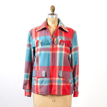 Vintage 50s The SIESTA JACKET / Rare 1950s Red & Blue Plaid Fringe Wool Sw Coat M