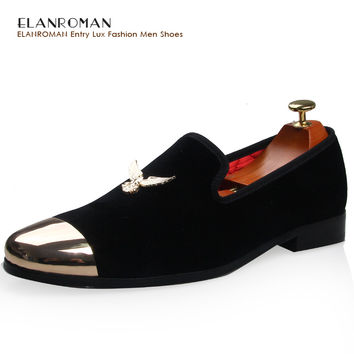 ELANROMAN Presell New Men Metal Buckle Dress Fromal Office Loafer Shoes Male Handmade Business Shoes Wedding Party Velvet Shoes