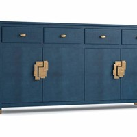 Blue Dining Room Credenza with Brass Hardware