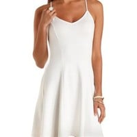 Ivory Zipper & Lace-Back Skater Dress by Charlotte Russe