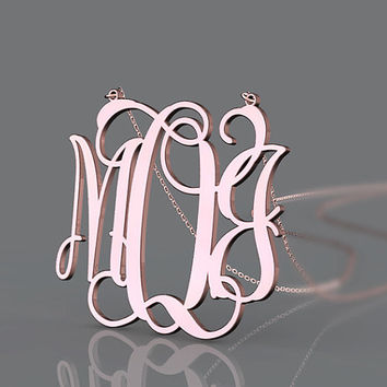 Monogram customized necklace 1 inch plated in rose gold monogram necklace jewelry