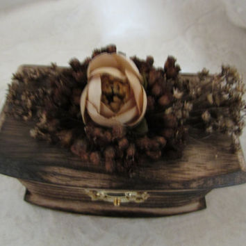 Rustic Woodland Wood Burned Personalized Ring bearer Box Wedding Rustic Wedding