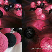 Black and Sweet Pink Set Cotton Ball String Lights For Wedding and House decoration (20 Flowers/Set)