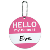 Eva Hello My Name Is Round ID Card Luggage Tag