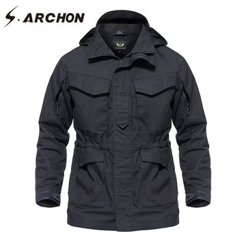 S.ARCHON Autumn Winter Waterproof Tactical Field Jacket Men Hooded Windbreaker Army Pilot Jacket Clothes Military Coat Outerwear