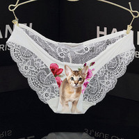 Dangerously Sweet Lace Back Panties. Pussycat panties / cat underwear, cat panties, gift for her, birthday gift, st valentine gift