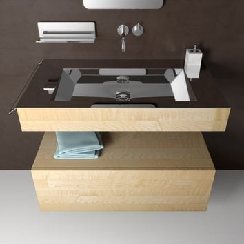 "Novanta 36"" Wall Bath Vanity With Rectangular Sink, Steel top and Maple Solid Wood - One Drawer Cabinet Included"