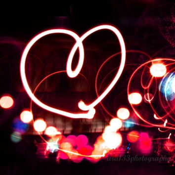 "Valentines Day Decor, Valentines Day Picture, Still Life Photograph, Color Photography, Abstract - 5x5 inch Photograph - ""Heart Light"""