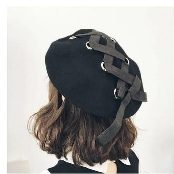 Harajuku Bandage Bow Wool Beret Korean Lady Tide In Autumn and Winter Bud Hat  Female Painter Beret