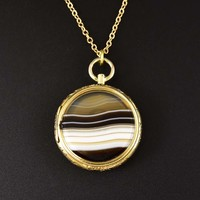 Fine Antique Banded Agate Fob Locket Pendant, C. 1850