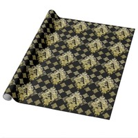 Elegant Monogram Vintage Gold Damask Wrapping Paper