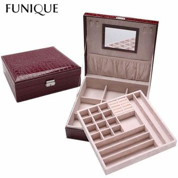 FUNIQUE Fashion Jewelry Mirror Flannel Jewelry Box Double Jewelry Storage Box Crocodile Pattern Leather Jewelry Box