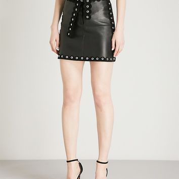MAJE - Eyelet trim leather mini skirt | Selfridges.com