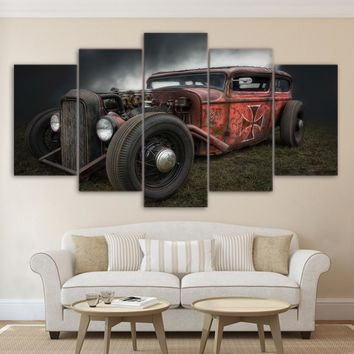 Painting Canvas Wall Art Pictures Frame Home Decor For Living Room 5 Pieces Antique Hot Rod Vintage Car HD Poster Printed PENGDA