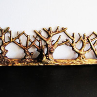 vintage brass tree branch coat hanger, necklace hanger wall hanging