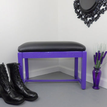 Padded Bench Purple Black Vanity Vinyl Wood Chair Seat Foot Bed Stool Dressing Room Bathroom Bridal Shop Vintage Mid Century Entryway