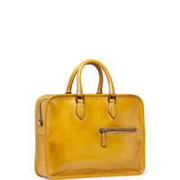 Single-Zip Leather Briefcase, Yellow