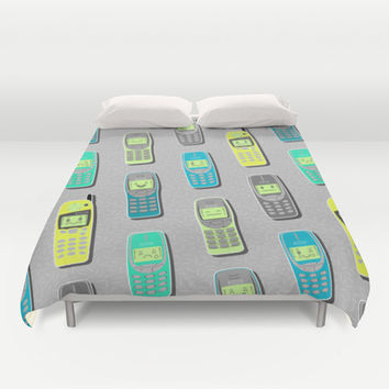 Vintage Cellphone Pattern Duvet Cover by Chobopop
