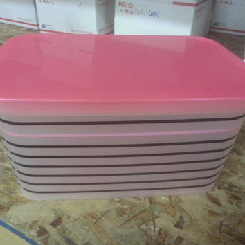 Unbranded Kids Storage Bin, Set Of 3, Pink Stripe