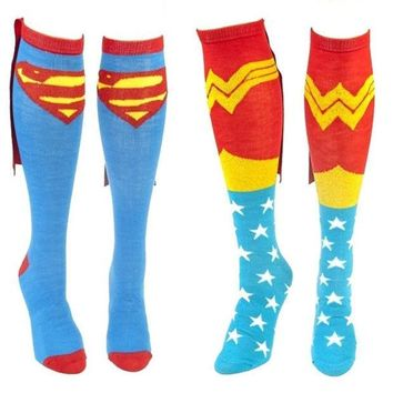 CREYUG3 Comics Superman and Wonder Woman Couple Caped Knee Socks = 1946581572