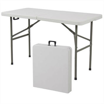 Multipurpose 4-Foot Center Folding Table with Carry Handle