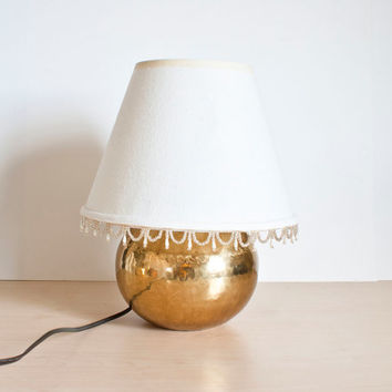 Vintage Hammered Brass Lamp, Round Brass Light, Ball Bedside Lamp, Hollywood Regency, Gold
