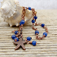 Blue Agate Anklet, Beachy Copper Starfish Gemstone Ankle Jewelry