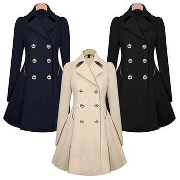 Women Lapel Long Sleeve Spring Parka Coat Trench Outwear Work Jacket Braw