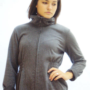 90s Gray MINIMALIST Sweatshirt S / Cowl Neck / Metallic / Zip up Hoodie Style / URBAN / Spice Girls